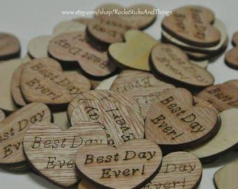 Wood Heart Confetti, Bridal, Wedding Decorations