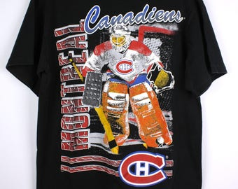 Vintage 90s Montreal Canadiens Hockey T-Shirt Graphic Print