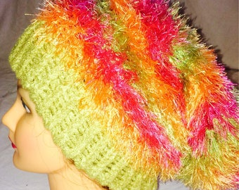 Adult fuzzy slouchy hat
