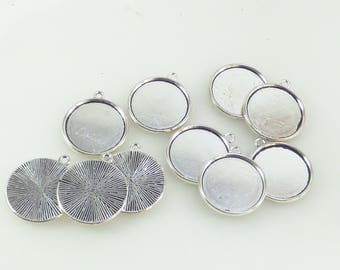 50 supports silver 12MM cabochon pendants