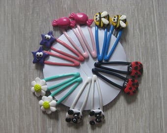 Barrettes for girls and girls (with polymer clay), sold by 2