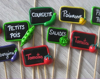 Slate deco polymer clay vegetables for your garden (made to order)