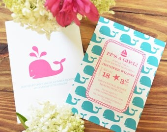 Nautical Baby Shower Invitations | Printed Invitations or Printable | Pink and Teal Girl | Whale Baby Shower | Optional Book for Baby Cards