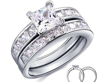 925 Sterling Silver Princess Cut CZ Wedding Engagement Ring Women's Size 5-9 Ss752