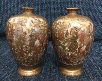 Exquisite pair of Satsuma vases