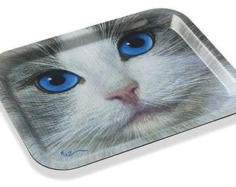 "melamine tray decorated with ""Ragdoll cat"", of painter MEZ deMEZERAC"