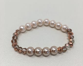 Mixed Pearl bracelet, taupe, beige, and rose gold mixed with faceted beads