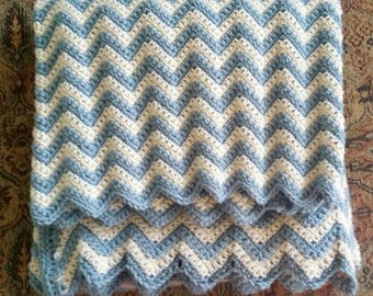 Afghan - Hand Crochet Zigzag Blue and white