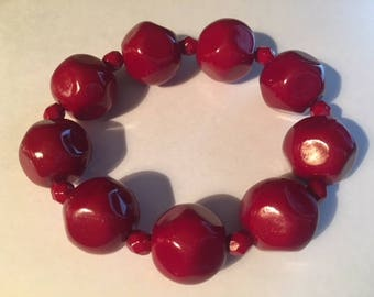 Chunky Red Beaded Bracelet, Beautiful