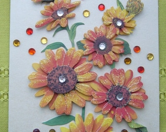 Greeting card made hand 3D iridescent pale yellow background, sunflowers, glitter and rhinestones - matching envelope