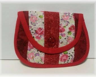 Red patchwork pouch