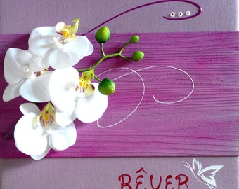 Pink and purple with white orchids ideal picture for a room