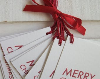 Set of 20 labels Christmas - Merry Christmas (red)