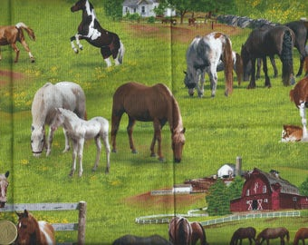 Cotton fabric with horses - 55x30 cm