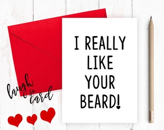 Funny anniversary card, Funny Birthday,  Boyfriend Card, Boyfriend Anniversary, funny valentines, funny rude card, Husband, for him, beard