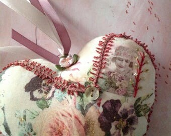 Romantic floral fabric heart (reserved)