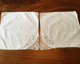 Set of Two Delicate Vintage Handkerchiefs with Lace and Embroidered Corners