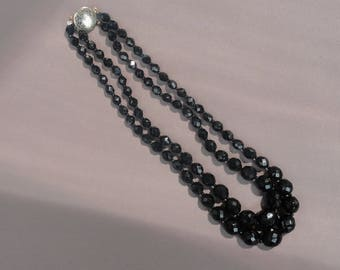 Vintage Jet Black Faceted Glass or Crystal Graduated Beaded Necklace with Fancy Clasp 1960s Short Choker