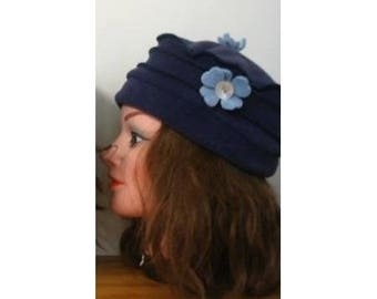 Dark blue color fleece Hat child size