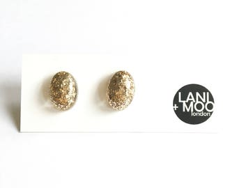 Oval Gold Glitter Sparkle Resin Stud Statement Earrings