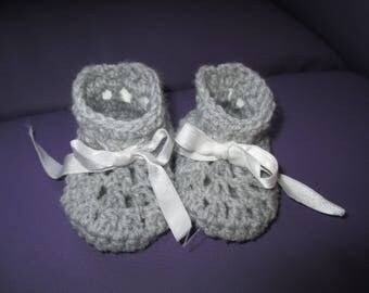 Grey booties 0-3 month baby