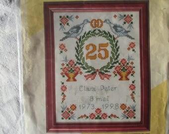 Embroidered on aida canvas wedding gift