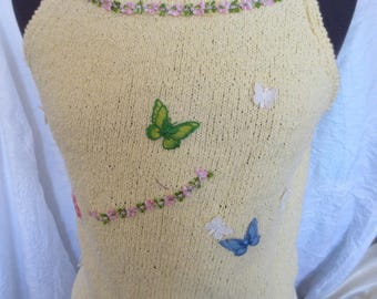 Women sweater in cotton with butterflies and flowers