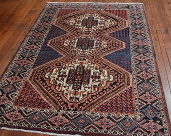 Vintage Persian Afshar Rug, 5'x7'3'', Red/Blue, All wool pile