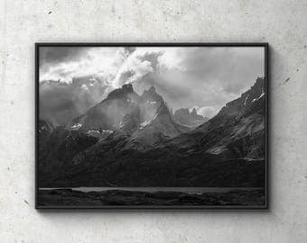 Torres del Paine Poster, Chile Print, Nature Art, Photo Poster, Scandinavian Poster, Illustration, Minimalistic Print, Home Art, Wall Decor