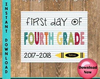 First Day of Fourth Grade Sign - 1st Day of School Sign Printable - First Day of School Sign - Photo Props - Chalkboard Sign