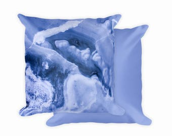 "Blue Abstract, Square Pillowcase, 18""x18"" (Pillow Included)"