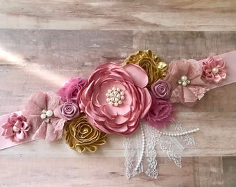 Pink Mauve and Gold Flower Sash Maternity Flower Girl Baby Shower Dress Accessory  Photo Prop, Keepsake