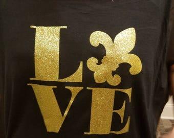 Saints/Black & Gold/Fleur De Lis shirt