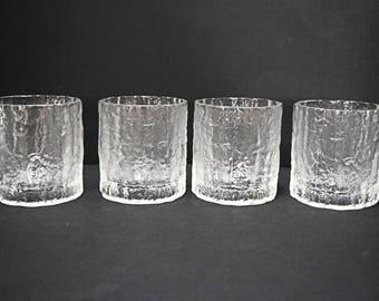 4 Vintage Hoya Whiskey glasses~ Drinking Glasses ~ Ice or Bark Texture~Mid Century ~Cocktail~ Bar~ Japan~Iittala style~heavy