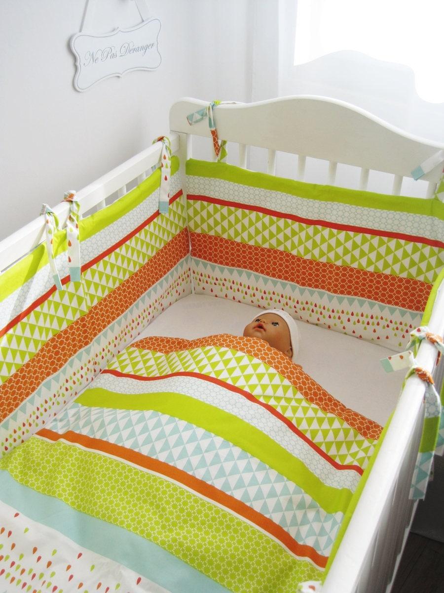U03 tour de lit b b et couverture assortie motif arlequin - Tour de lit bebe et gigoteuse assortie ...