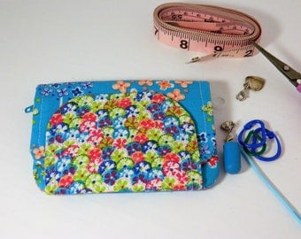 Knitting Notions Pouch, Knitting Notions Case, Knitting Notions Wallet, Knitting Organization - Colorful