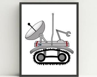 Space Rover, children's nursery art print, outer space bedroom decor