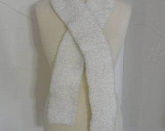 White super soft and warm shawl knitted by hand