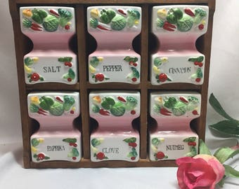 Lefton Spice Rack Pink Shakers - set of 6 in rack