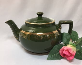Hall Tea Pot Green 22k Gold