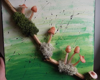 3D canvas acrylic painting with mushrooms in fimo on a branch