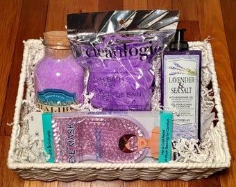 Spa Gift Basket. Relax Gift Basket. Lavender Bath Gift Basket.