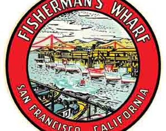 Vintage Style Fisherman's Wharf San Francisco California Travel Decal sticker