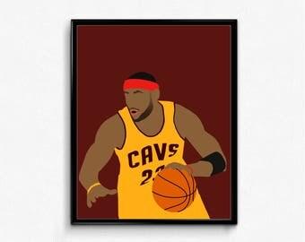 LeBron James Minimalist Sports Poster - King James, Cleveland, Basketball Poster