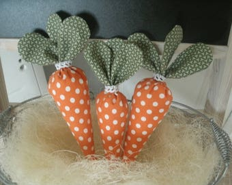 set of 3 carrots fabric orange khaki and white polka dot