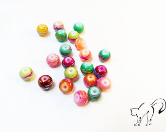Set of 15 round beads 6 mm marbled multicolored effect