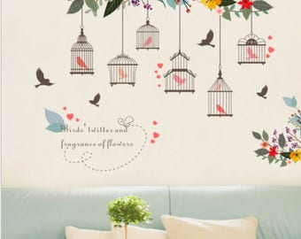 Wall decal, flower wall decal, flower sticker, kids room, bedroom, living room decal, cage sticker, birds and cage, birds sticker, cages