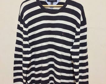 Vintage Tommy Hilfiger Jail Stripes Knitwear Sweatshirt Small Logo