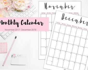 Monthly Calendar, Planner, Printable Monthly Calendar, Planner Insert, A4 , Full Sheet, PDF Download