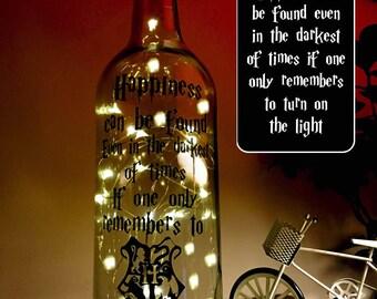 Harry Potter Light Up Bottle, fairy lights bottle, light up wine bottle, table light decor, Quote Bottle, Christmas Gift, Present